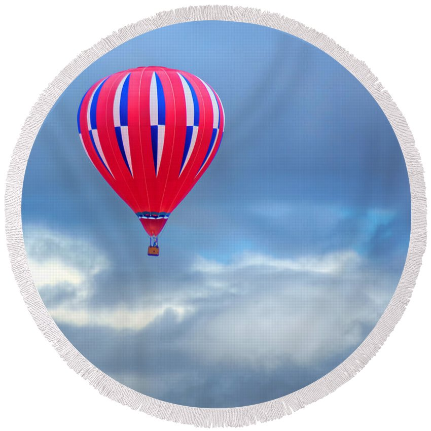 High In The Sky Round Beach Towel featuring the photograph High In The Sky - Hot Air Balloon by Nikolyn McDonald