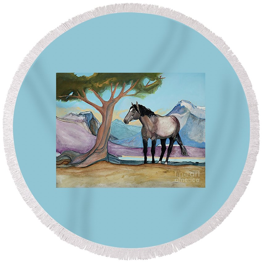 Montana Mustang In A High Meadow Round Beach Towel featuring the painting High Meadow Mustang by Blair Denny