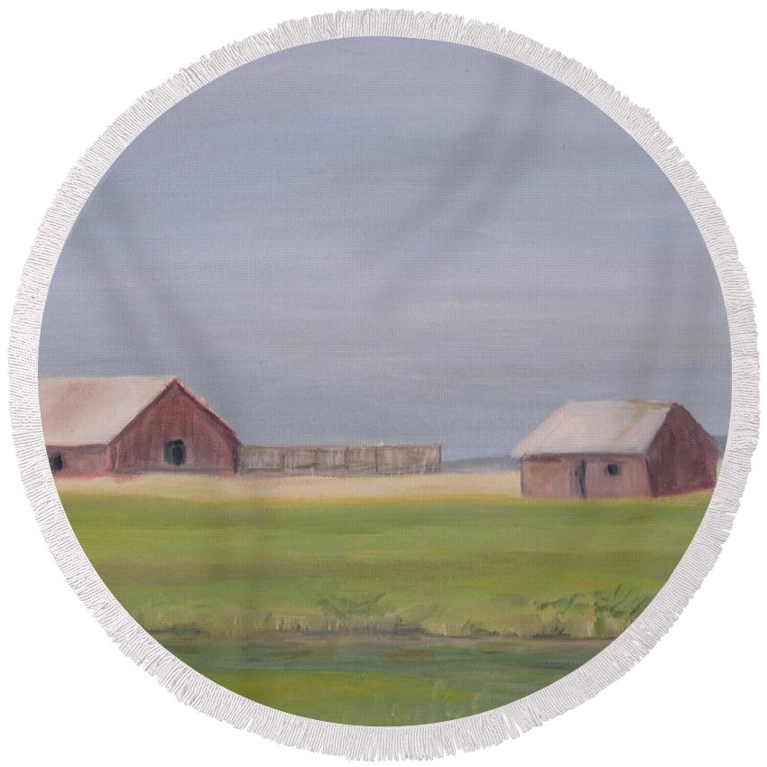 Landscape Plains Barn Round Beach Towel featuring the painting High Plains by Patricia Caldwell