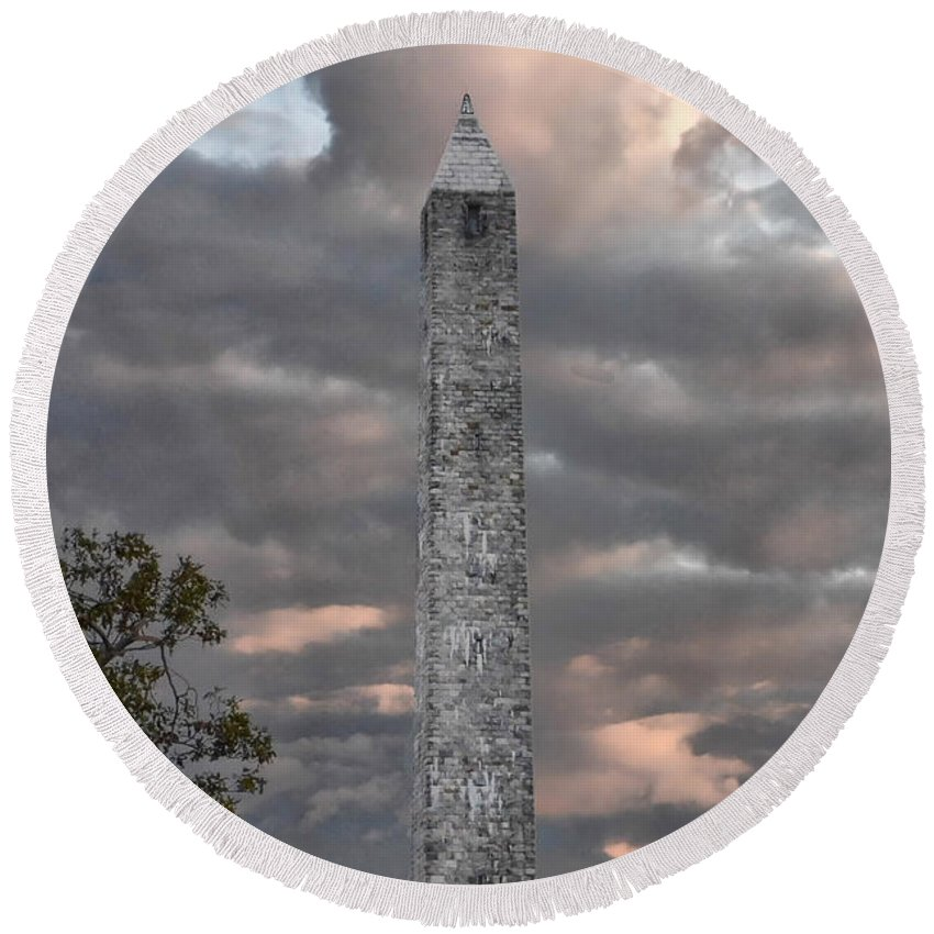 High Point Round Beach Towel featuring the photograph High Point Monument Sussex County New Jersey by Eleanor Bortnick
