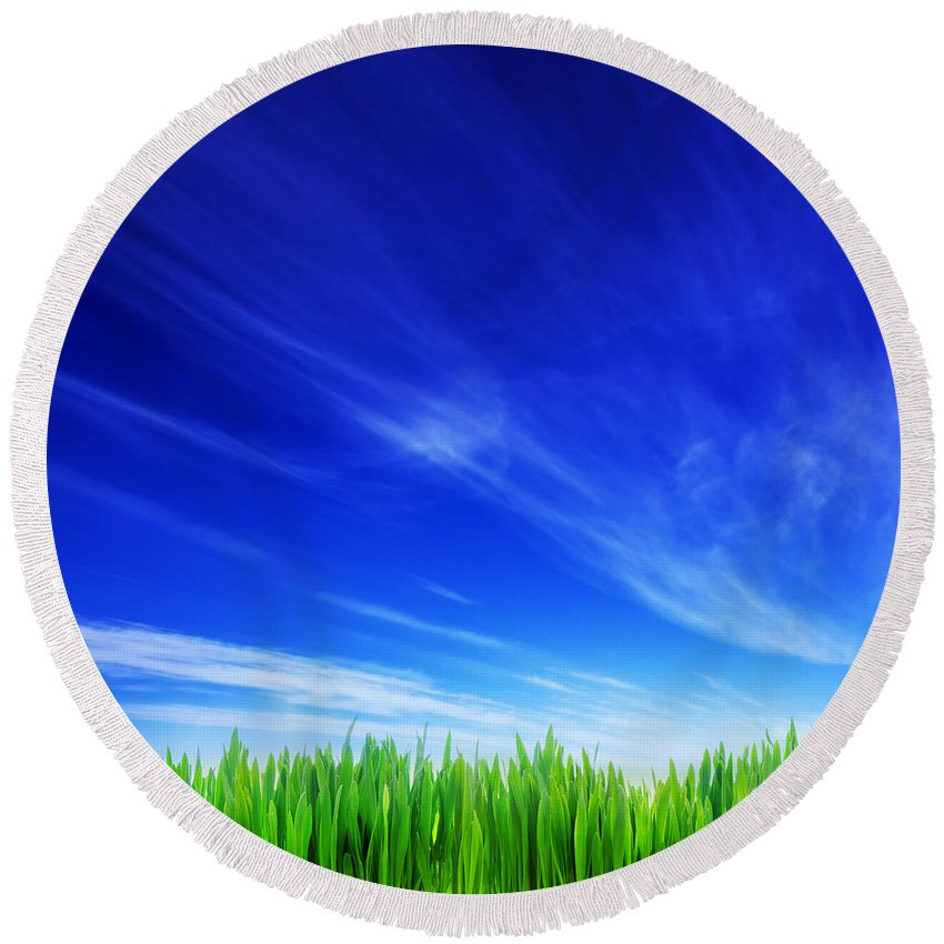 Grass Round Beach Towel featuring the photograph High Resolution Image Of Fresh Green Grass And Blue Sky by Michal Bednarek