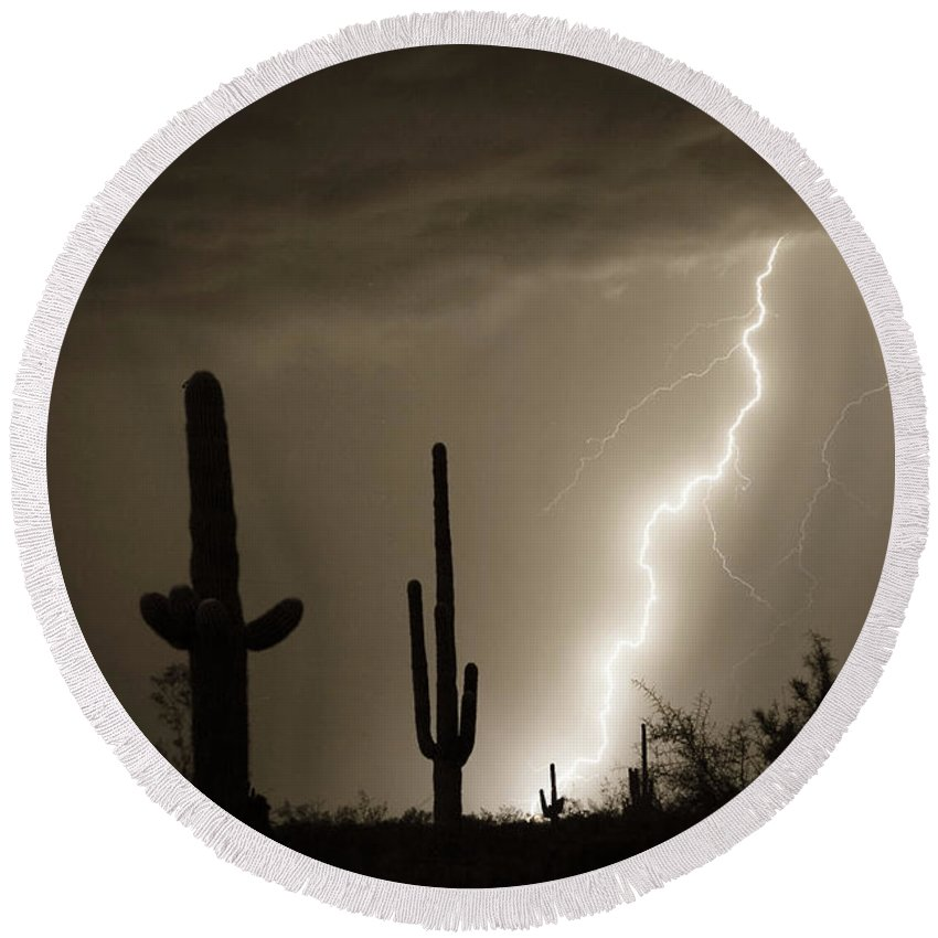 Lightning Round Beach Towel featuring the photograph High Southwest Desert Lightning Strike by James BO Insogna