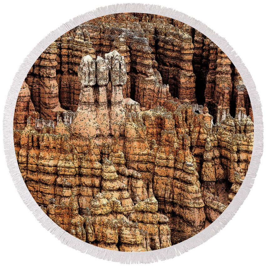 Bryce Canyon Round Beach Towel featuring the photograph High Style Hoodoo by Rick Selin