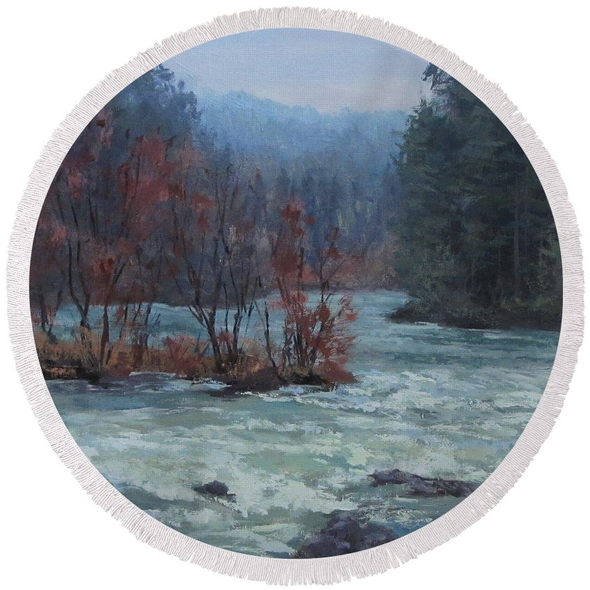 Water Round Beach Towel featuring the painting High Water by Karen Ilari