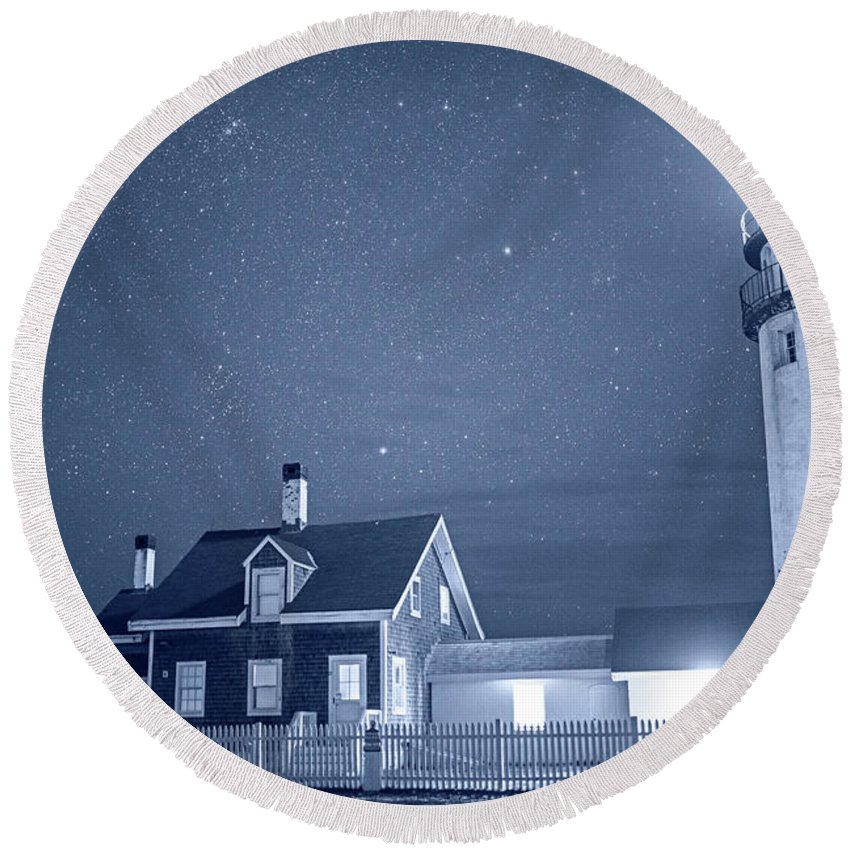 Highland Round Beach Towel featuring the photograph Highland Lighthouse Truro Ma Cape Cod Monochrome Blue Nights by Toby McGuire