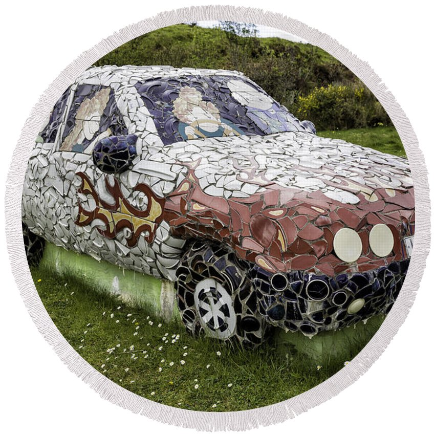 Car Round Beach Towel featuring the photograph Highland Stoneware Car by Fran Gallogly