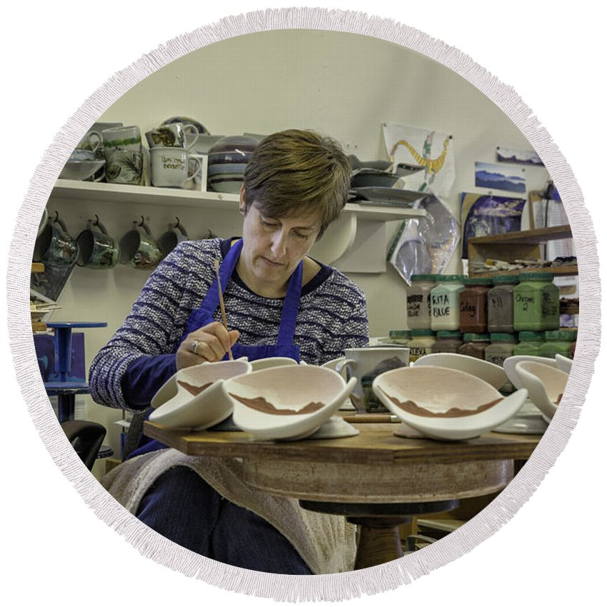 Highland Stoneware Round Beach Towel featuring the photograph Highland Stoneware Artist At Work by Fran Gallogly