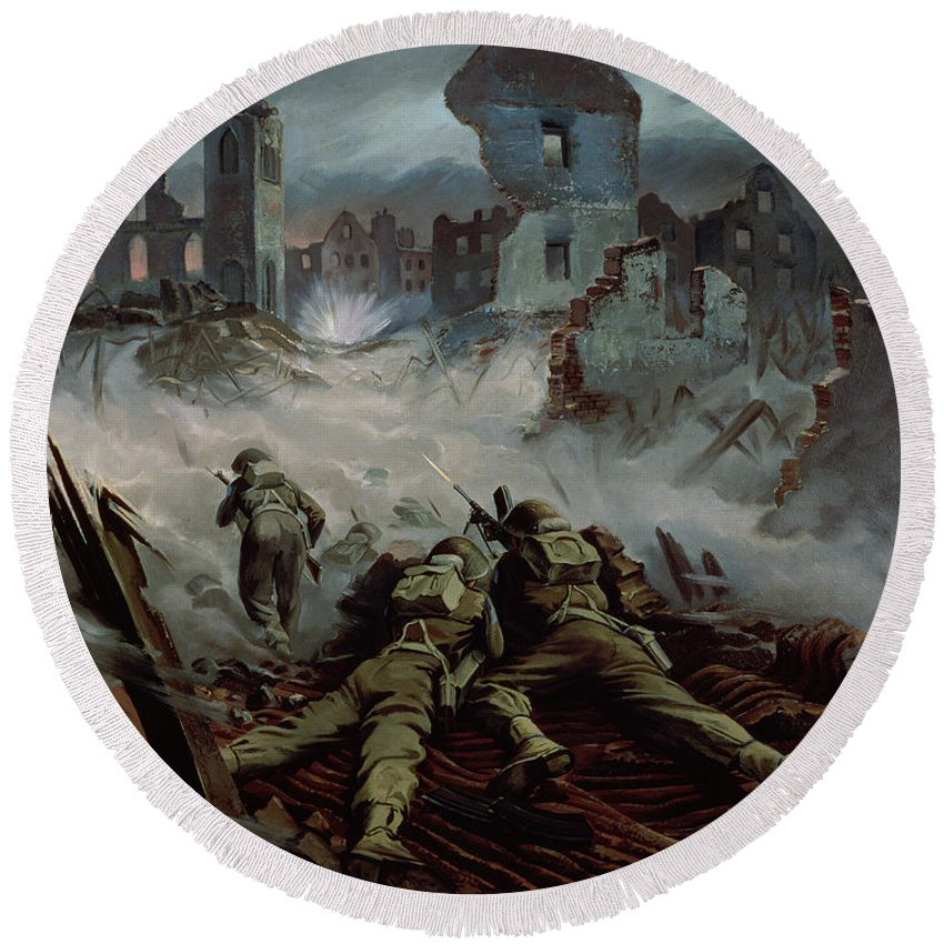 Stormont Round Beach Towel featuring the painting Highlanders Advancing To Caen by Orville Norman Fisher