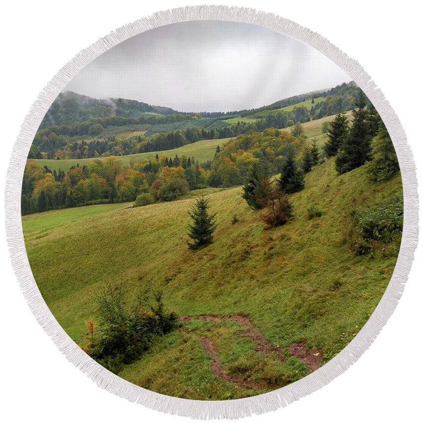 Pieniny Round Beach Towel featuring the photograph Highlands landscape in Pieniny by Arletta Cwalina