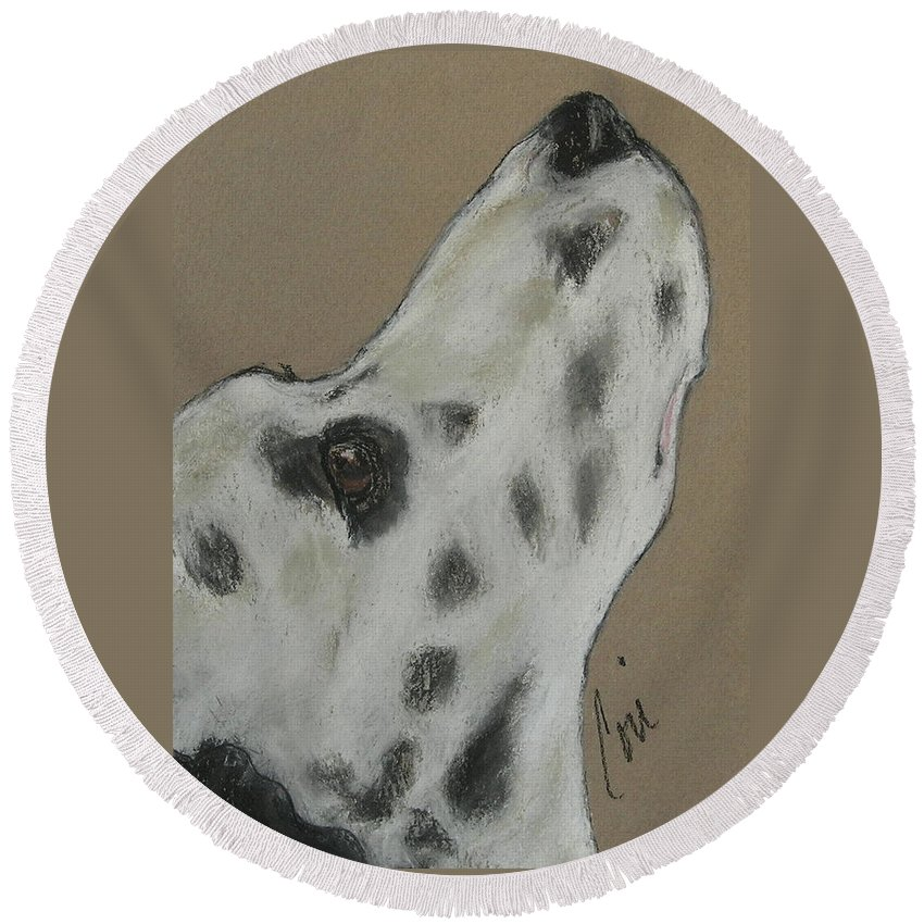 Dalmatian Round Beach Towel featuring the drawing Highly Motivated by Cori Solomon
