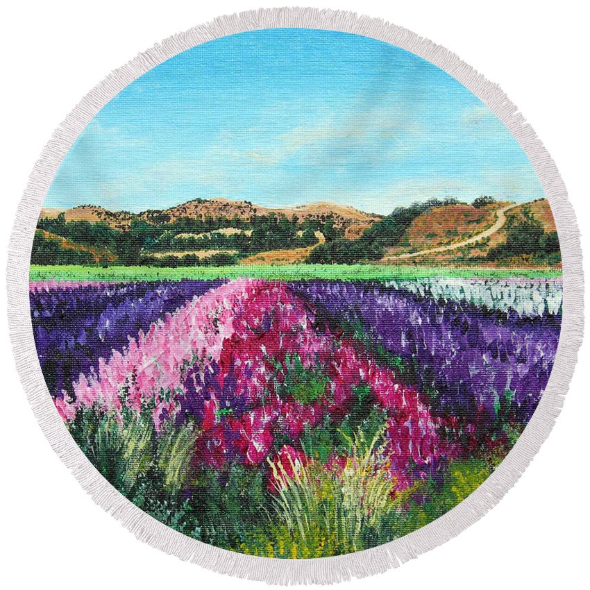 Highway 246 Round Beach Towel featuring the painting Highway 246 Flowers 3 by Angie Hamlin