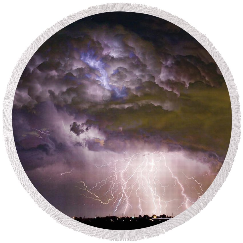 Colorado Lightning Round Beach Towel featuring the photograph Highway 52 Storm Cell - Two And Half Minutes Lightning Strikes by James BO Insogna