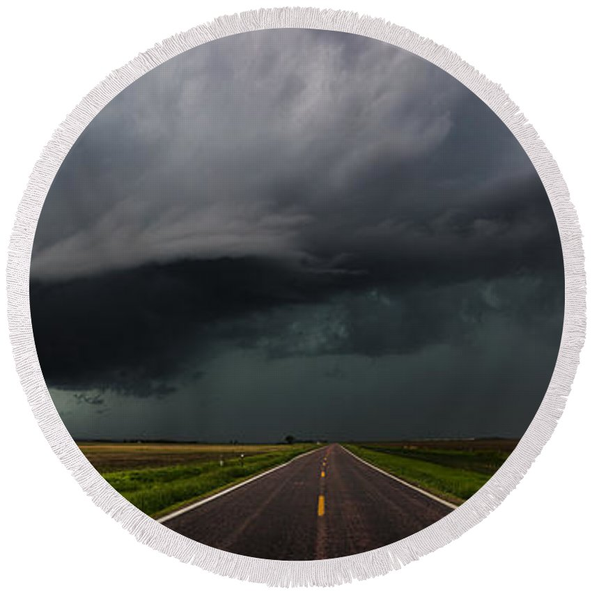 Storms Round Beach Towel featuring the photograph Highway To Hell by Aaron J Groen
