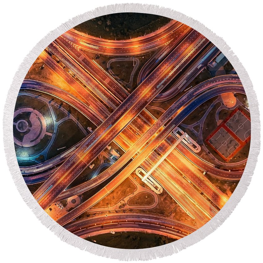 Highway Round Beach Towel featuring the digital art Highway by Zia Low