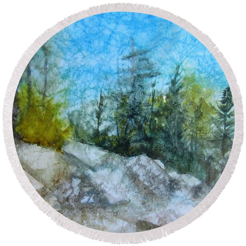 Montana Round Beach Towel featuring the painting Hiking In Montana by Dolores Pettit