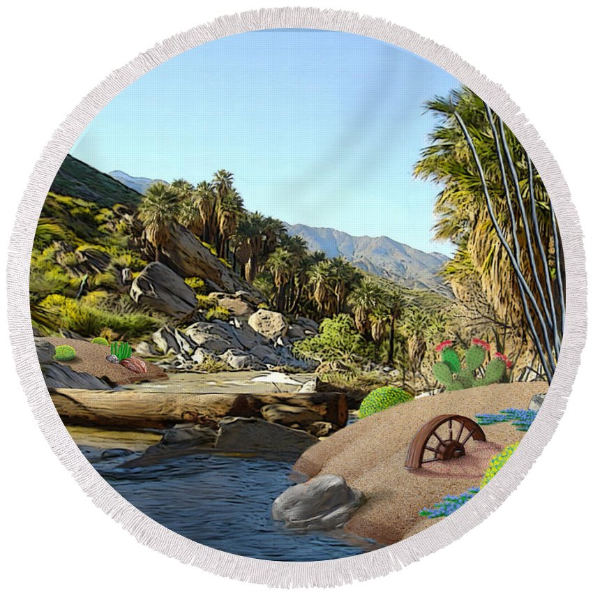 Desert Round Beach Towel featuring the digital art Hiking The Canyons by Snake Jagger