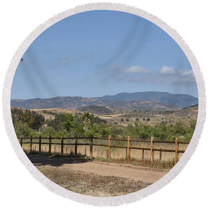 Linda Brody Round Beach Towel featuring the photograph Hiking Trail To Peters Canyon by Linda Brody
