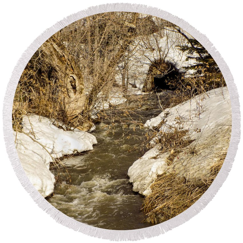 Spring Round Beach Towel featuring the photograph Hill Drain 2 by William Tasker