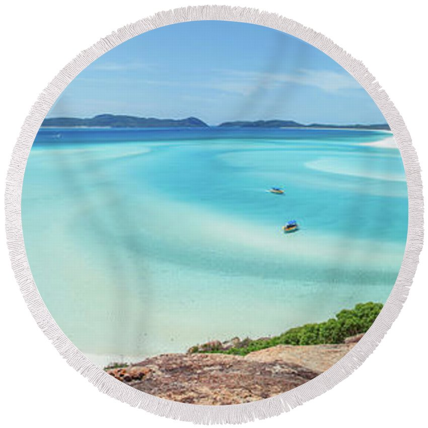Australia Round Beach Towel featuring the photograph Hill Inlet Lookout by Az Jackson
