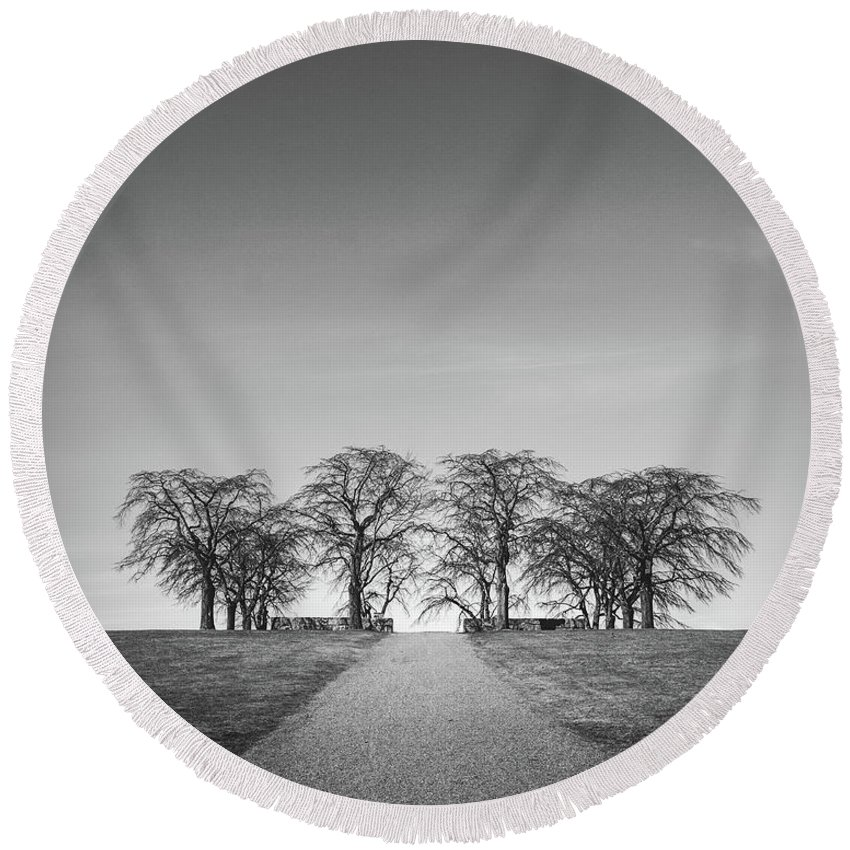 Trees Round Beach Towel featuring the photograph Hill Of Elm by Tommy Roda