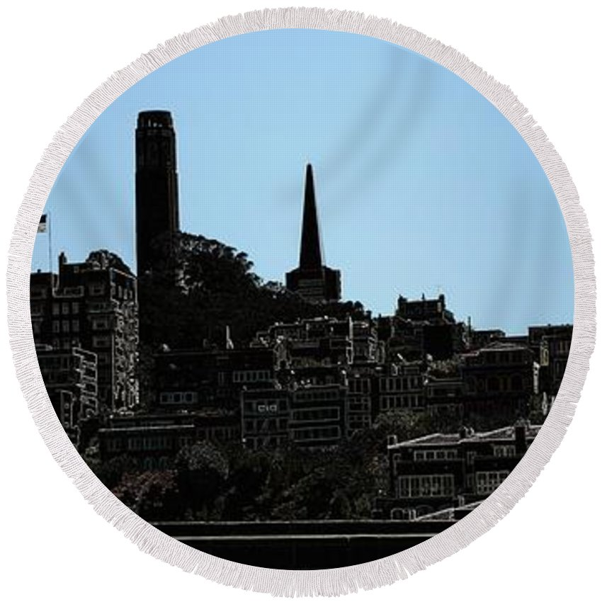 Cityscape Round Beach Towel featuring the digital art Hill Top by Ron Bissett