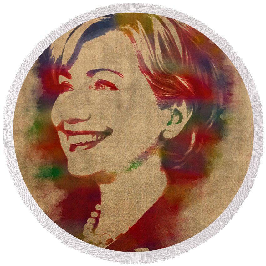 Hillary Clinton Round Beach Towels