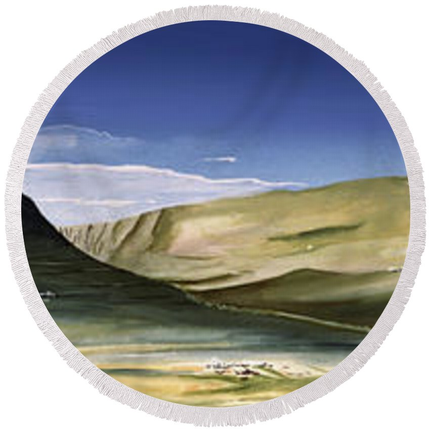Hills Round Beach Towel featuring the painting Hills by Christian Simonian