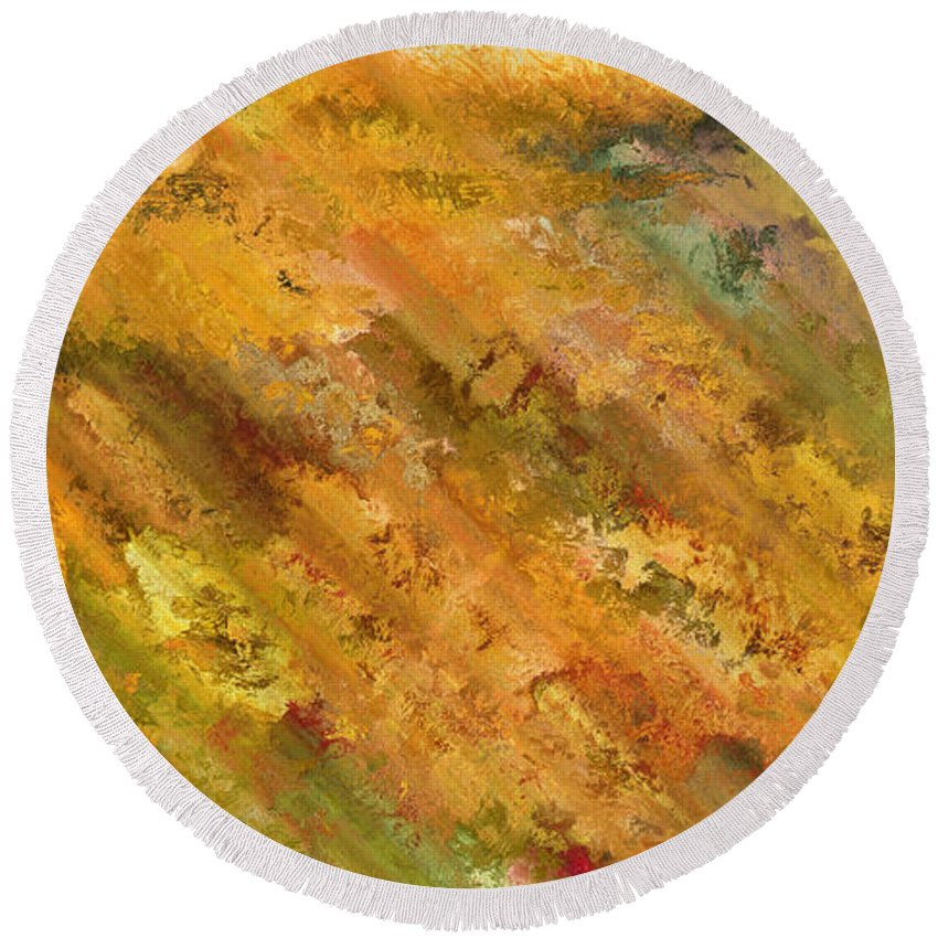 Abstract Round Beach Towel featuring the digital art Hillside Flowers II by Ronald Bolokofsky