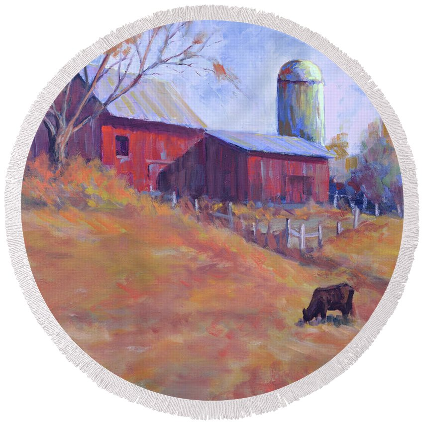 Impressionism Round Beach Towel featuring the painting Hillside by Keith Burgess