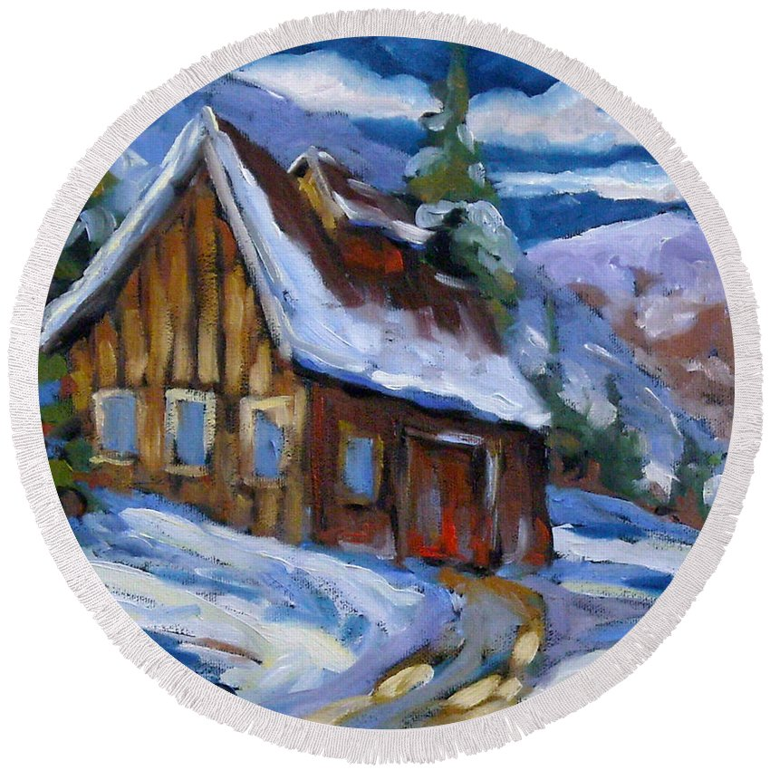 Art Round Beach Towel featuring the painting Hillsidebarn In Winter by Richard T Pranke