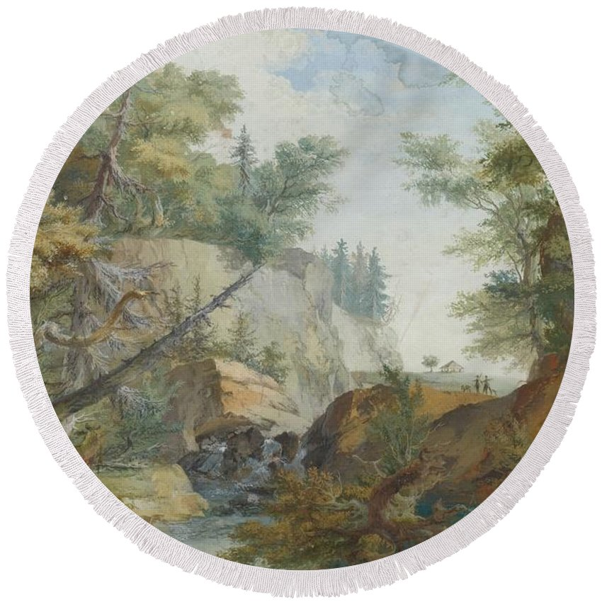 Wolf Round Beach Towel featuring the painting Hilly Landscape With A River And Figures In The Background by MotionAge Designs