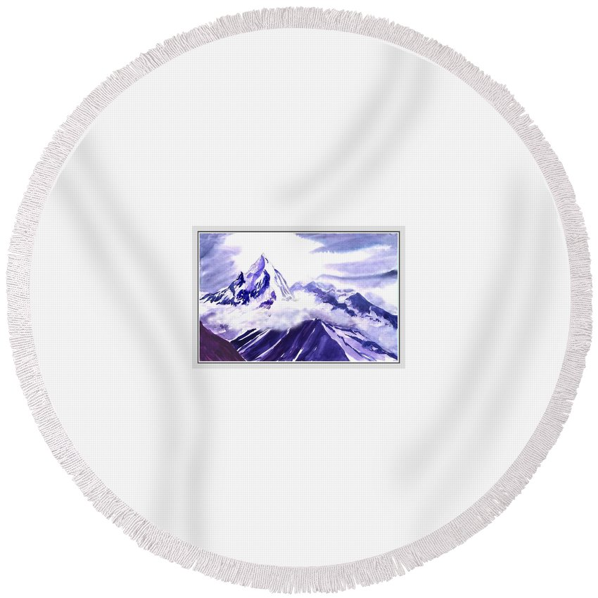Landscape Round Beach Towel featuring the painting Himalaya by Anil Nene