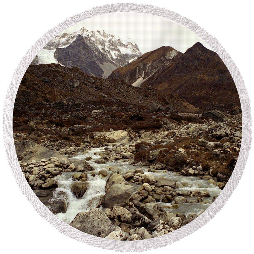 Himalaya Round Beach Towel featuring the photograph Himalaya by Patrick Klauss
