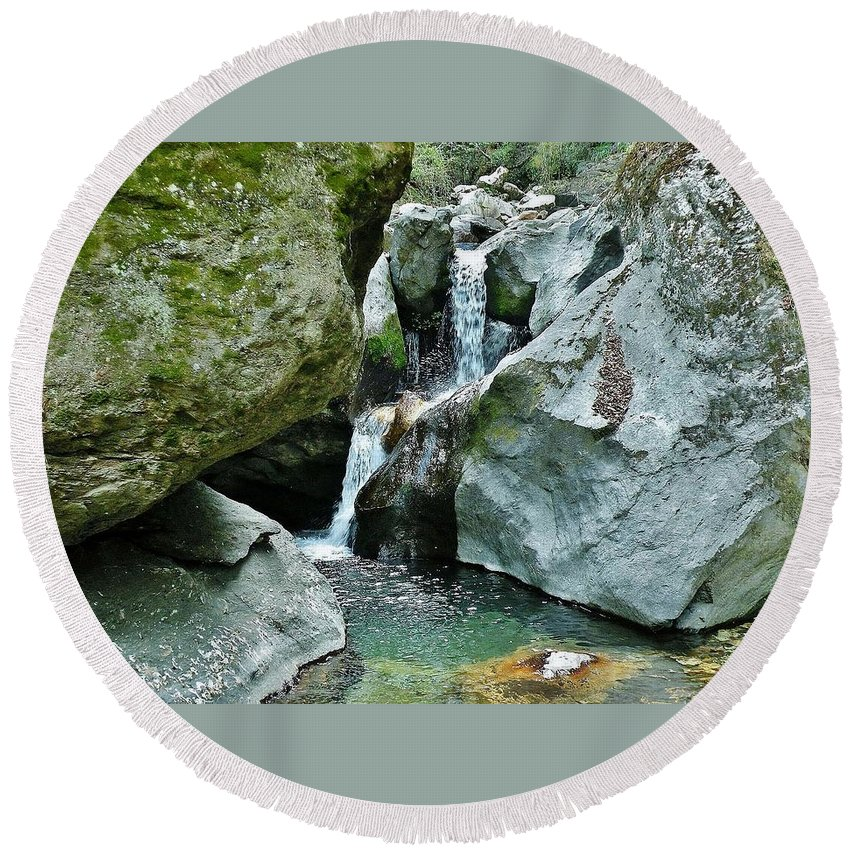 Waterfall Round Beach Towel featuring the photograph Himalayan Waterfalls by Kim Bemis