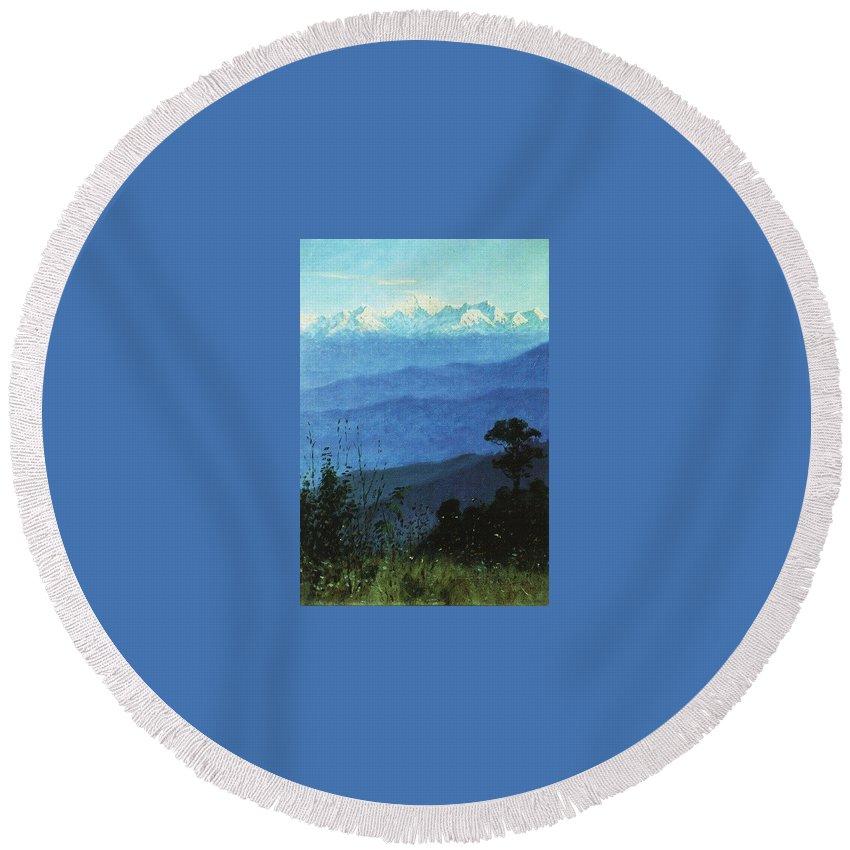 Mountain Round Beach Towel featuring the digital art Himalayas In The Evening 1875 Vasily Vereshchagin by Eloisa Mannion