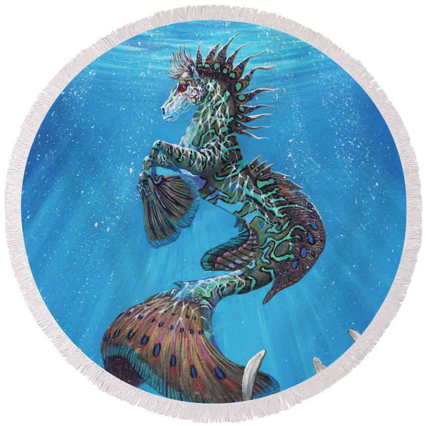 Seahorse Round Beach Towel featuring the painting Hippocampus by Stanley Morrison