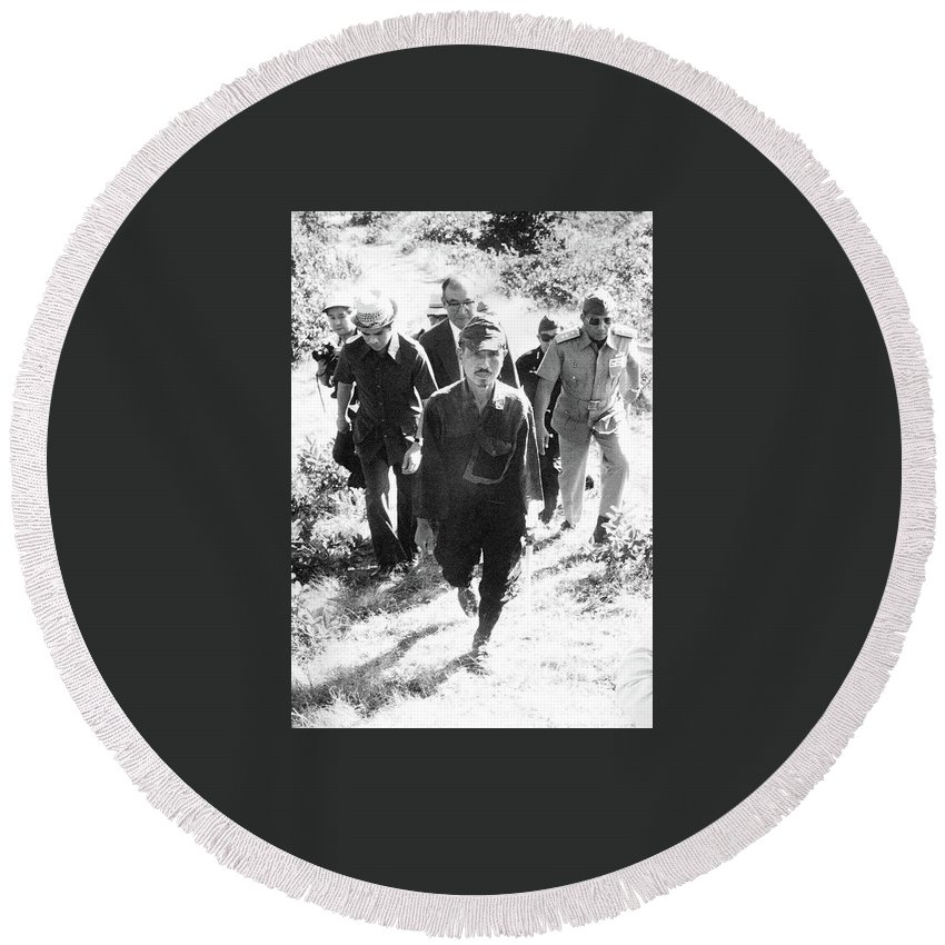 Hirō Onoda Surrendering Lubang Philippines March 1974 Round Beach Towel featuring the photograph Hiro Onoda Surrendering Lubang Philippines March 1974 by David Lee Guss