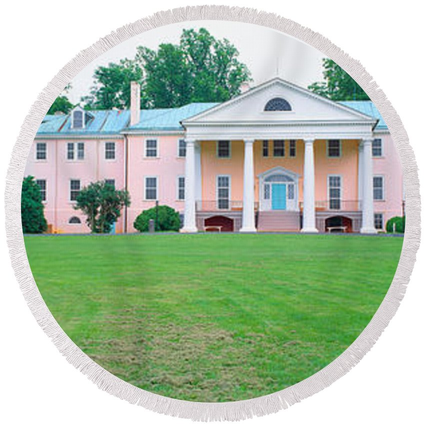 Photography Round Beach Towel featuring the photograph Historic Home Of James Madison by Panoramic Images