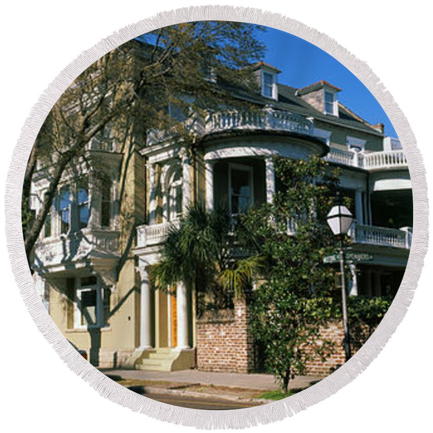 Photography Round Beach Towel featuring the photograph Historic Houses In A City, Charleston by Panoramic Images
