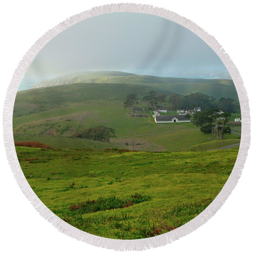 Photography Round Beach Towel featuring the photograph Historic Pierce Point Ranch In Point Reyes by Charlene Mitchell