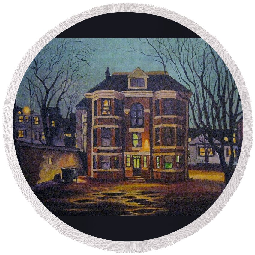 Moody Round Beach Towel featuring the painting Historic Property South End Haifax by John Malone