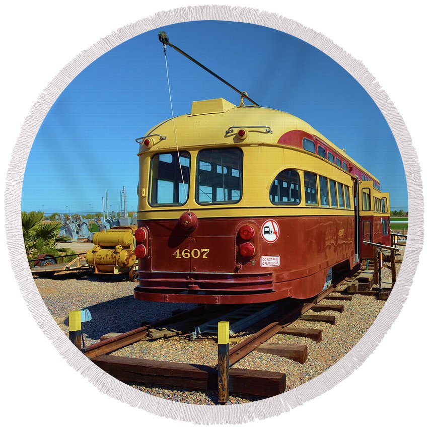 Transportation Round Beach Towel featuring the photograph Historic Trolley by Richard Jenkins