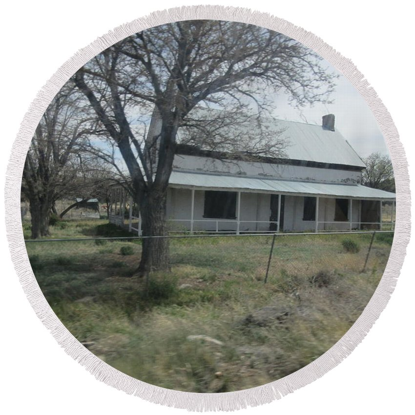 Historical Round Beach Towel featuring the photograph Historical Concho House by Frederick Holiday