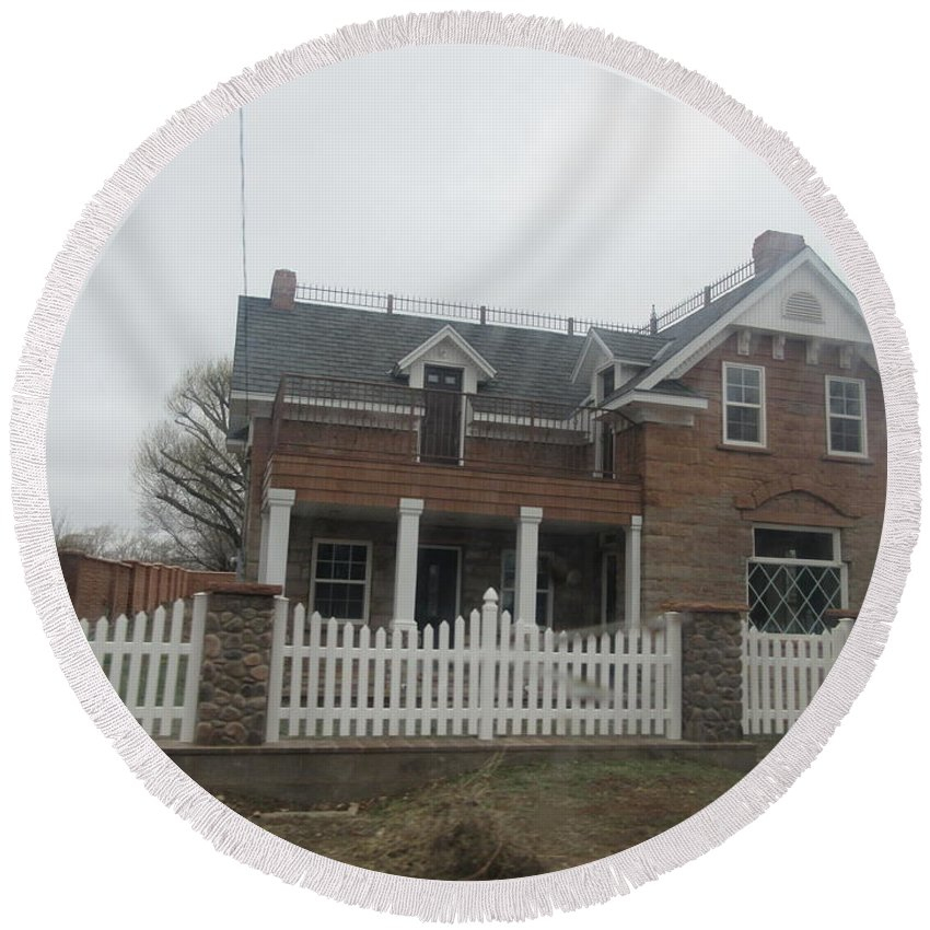 Historical Round Beach Towel featuring the photograph Historical House In Taylor by Frederick Holiday
