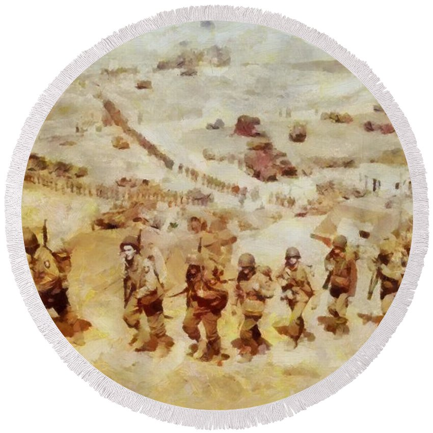 History In Color  D Day, Omaha Beach, Wwii Round Beach Towel