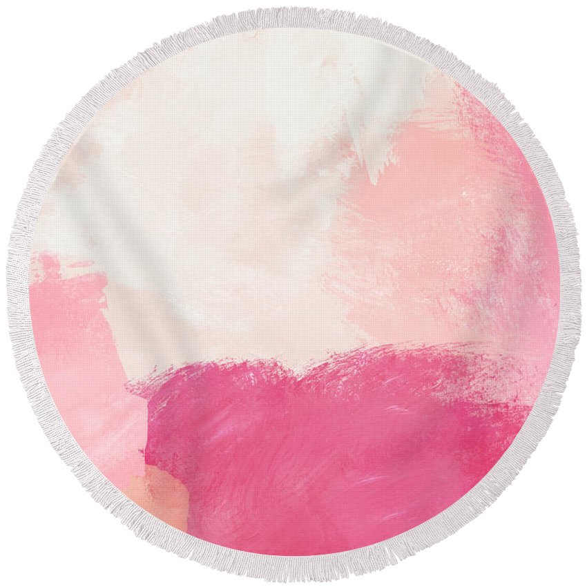 Abstract Round Beach Towel featuring the mixed media History of Pink- Abstract Art by Linda Woods by Linda Woods