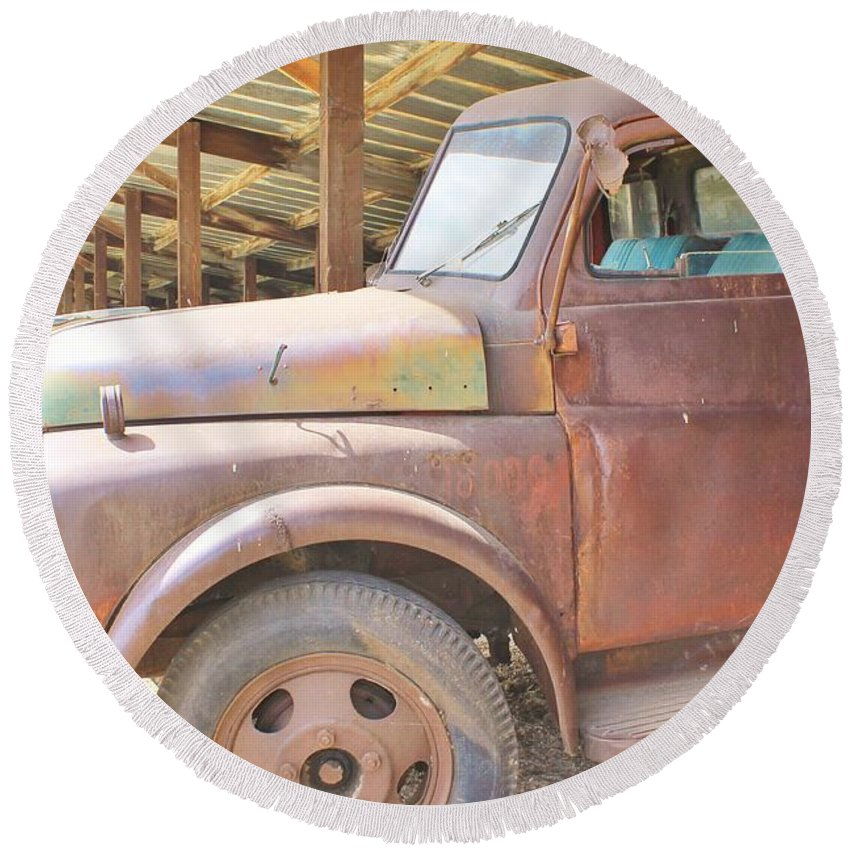 Nature Round Beach Towel featuring the photograph History On Wheels by Tonya Hance
