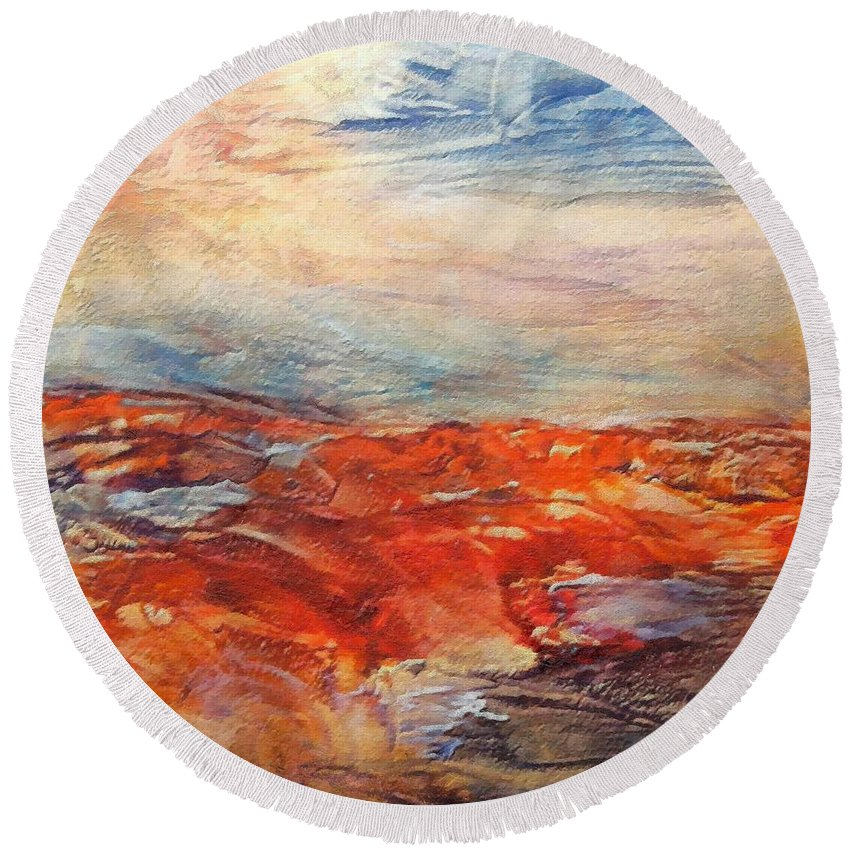 Abstract Landscape Round Beach Towel featuring the painting Histria by Dragica Micki Fortuna