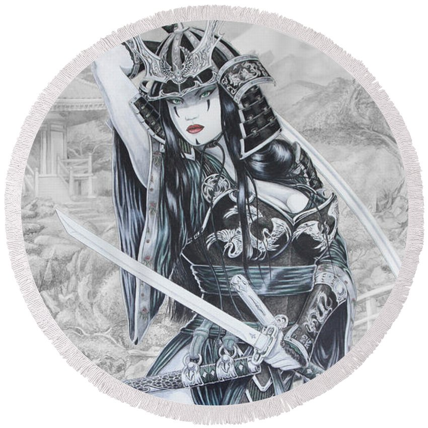 Femme Fatale Round Beach Towel featuring the drawing Hisuiko by Kristopher VonKaufman
