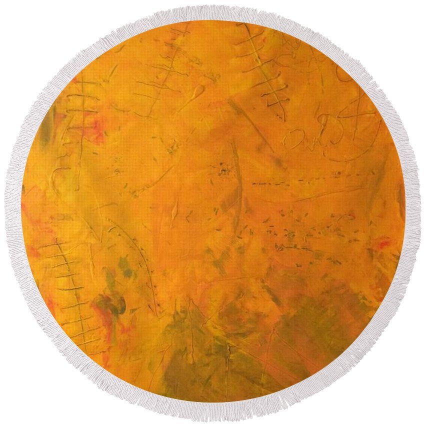 Abstract Art Round Beach Towel featuring the painting Hkf Yellow Planet Surface by John Dossman